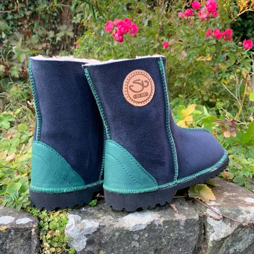 Kid's Sheepskin Boots Navy Green