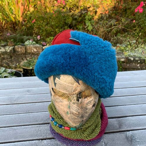 Sheepskin Hat Ocean Blue and Red