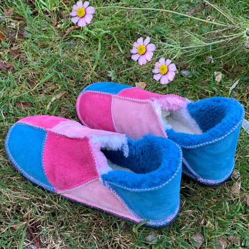 Sheepskin Slippers Pink Ocean Blue