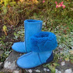 Sheepskin Boots Calf Height Ocean Blue