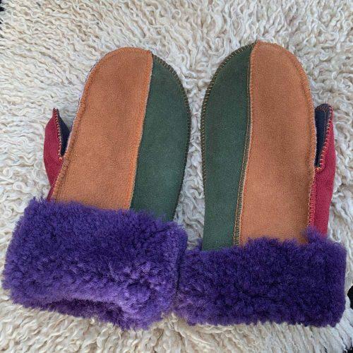 Sheepskin Mittens Raj Purple Cuffs Medium