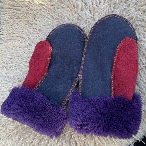 Sheepskin Mittens Raj Purple Cuffs