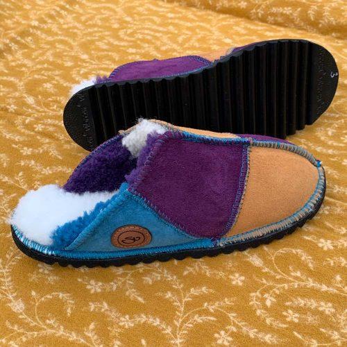Sheepskin Slippers Purple Ocean Burnt Honey