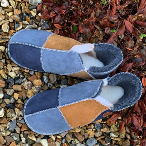 Sheepskin Slippers Grey Slate Spice