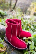 Sheepskin Boots in red with leopard