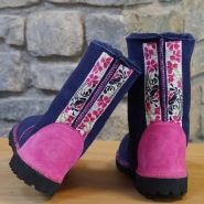Sheepskin Boots in Navy with Embroidered Braid