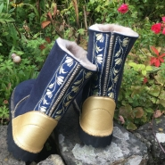 Sheepskin Boots Slate Blue Gold Embroidery & Leather Heels