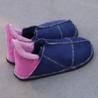 Sheepskin Slippers in Pink & Navy with Rainbow Stitching